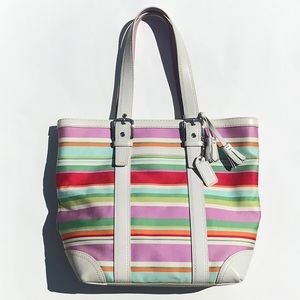 COACH Multi Striped Hampton Tote EUC